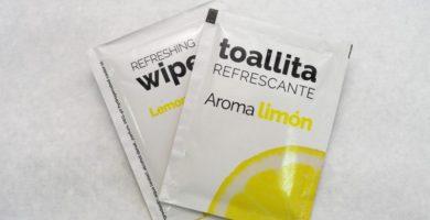 toallita refrescante perfumada aroma limon individual