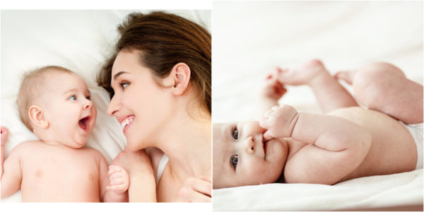 madre y bebés felices con los pañales