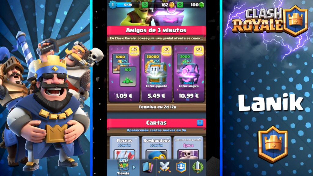 pantalla de compras y regalos de clash royale